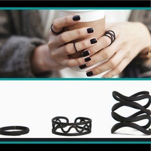 Last set! NWT 3 pc Black punk midi ring set